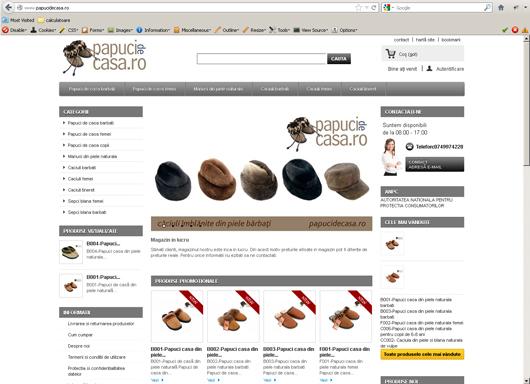 1. Prezentare interfata magazin online - papucidecasa.ro