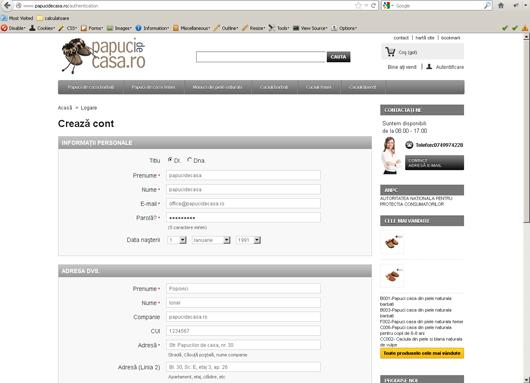Introducerea informatiilor necesare pentru crearea unui cont